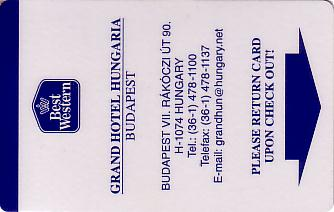 Hotel Keycard Best Western Budapest Hungary Front