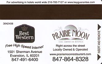 Hotel Keycard Best Western Illinois (State) U.S.A. (State) Back