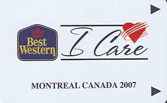 Hotel Keycard Best Western Montreal Canada Front