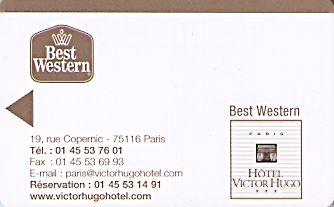 Hotel Keycard Best Western Paris France Front