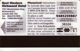 Hotel Keycard Best Western Richmond Canada Back