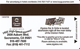 Hotel Keycard Clarion Hotel California (State) U.S.A. (State) Back