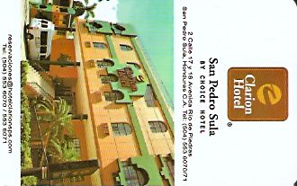 Hotel Keycard Clarion Hotel San pedro sula Honduras Front