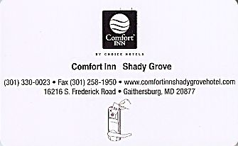 Hotel Keycard Comfort Inn & Suites Maryland (State) U.S.A. (State) Back