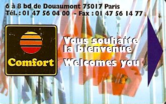 Hotel Keycard Comfort Inn & Suites Paris France Front