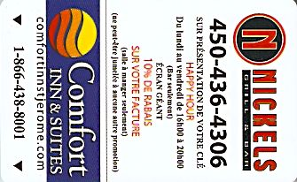 Hotel Keycard Comfort Inn & Suites Saint-Jerome Canada Front