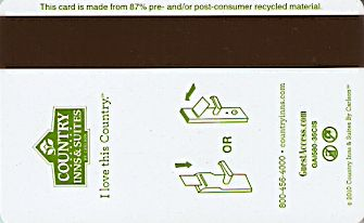 Hotel Keycard Country Inns & Suites Generic Back