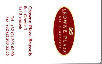 Hotel Keycard Crowne Plaza Brussels Belgium Front