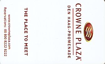 Hotel Keycard Crowne Plaza The Hague Netherlands Front