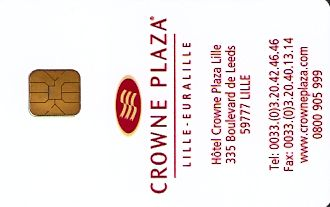 Hotel Keycard Crowne Plaza Lille France Front