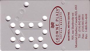 Hotel Keycard Crowne Plaza Montreal Canada Front