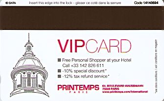 Hotel Keycard Crowne Plaza Paris France Back