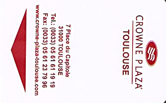 Hotel Keycard Crowne Plaza Toulouse France Front