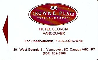 Hotel Keycard Crowne Plaza Vancouver Canada Front