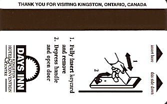 Hotel Keycard Days Inn Kingston Canada Back