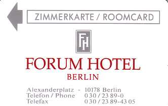 Hotel Keycard Forum Hotel Berlin Germany Front