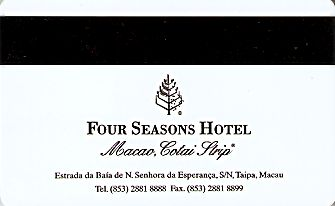 Hotel Keycard Four Seasons  Macau Back