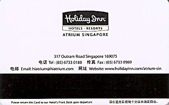 Hotel Keycard Holiday Inn  Singapore Back