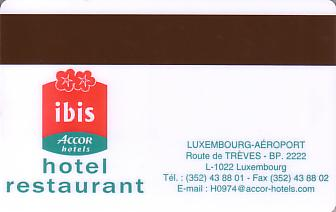 Hotel Keycard Ibis  Luxembourg Back