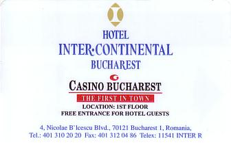 Hotel Keycard Inter-Continental Bucharest Romania Front
