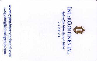 Hotel Keycard Inter-Continental  Cyprus Front