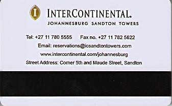 Hotel Keycard Inter-Continental Johannesburg South Africa Back