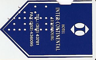 Hotel Keycard Inter-Continental  Luxembourg Front