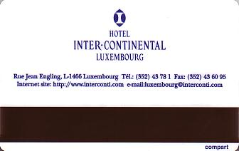 Hotel Keycard Inter-Continental  Luxembourg Back