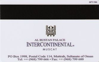 Hotel Keycard Inter-Continental Muscat Oman Back