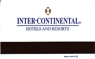 Hotel Keycard Inter-Continental Santiago Chile Back