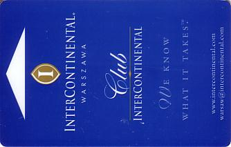 Hotel Keycard Inter-Continental Warsaw Poland Front