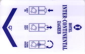 Hotel Keycard Inter-Continental Zagreb Croatia Front