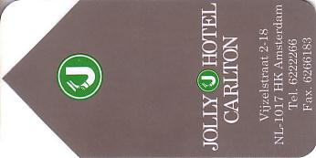 Hotel Keycard Jolly Hotels Amsterdam Netherlands Front