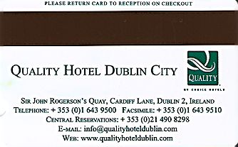 Hotel Keycard Quality Inn & Suites Dublin Ireland Back