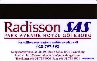 Hotel Keycard Radisson Goteborg Sweden Back