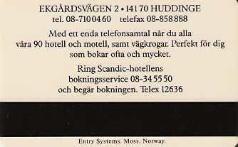 Hotel Keycard Scandic Huddinge Sweden Back