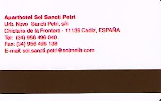 Hotel Keycard Sol Melia - Sol Inn Chiclana Spain Back