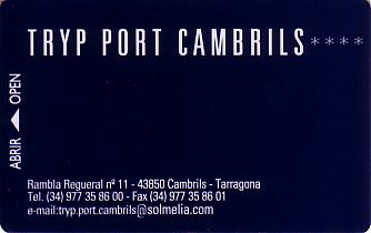 Hotel Keycard Sol Melia - Tryp Cambrils Spain Front